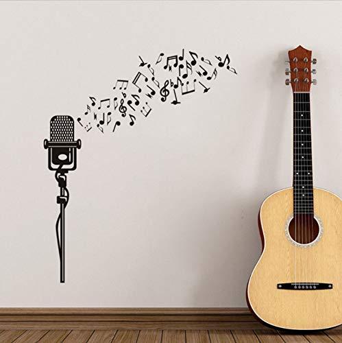 Xbwy Design Moderno Fai Da Te Note Musicali Microfono Modello Wall Sticker Per La Musica Bambini Camera Da Letto Stickers Murali Carta Da Parati Home Decor 22X41Cm