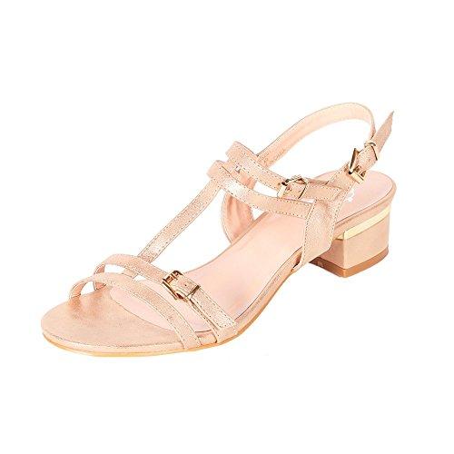 Alexis Leroy Damen Schuhe Klassische Feste T-Riemen-Schnalle Verstellbare Kleid Sandalen Gold