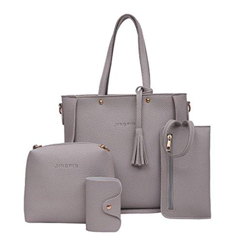 LMMVP Women Handbag Large Shoulder Bags Travel Casual Tote Bag Crossbody Wallet Four Pieces Bags Set