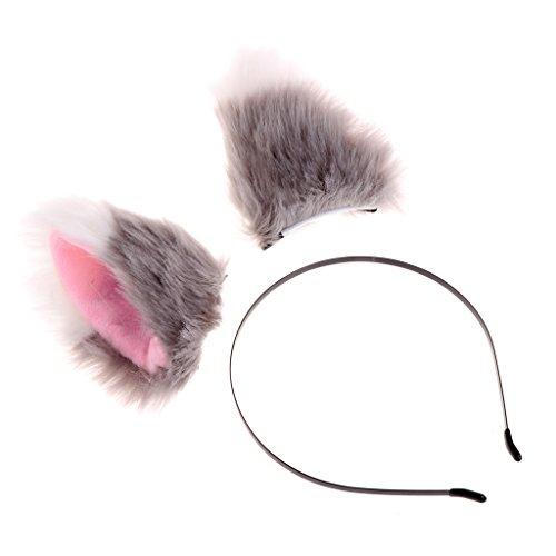 Preisvergleich Produktbild ECMQS Heißer Verkauf Frauen Mädchen Mode Fuchs Plüsch Katze Ohren Stirnbänder Haarschmuck (Leopard) (Grau + Weiß)