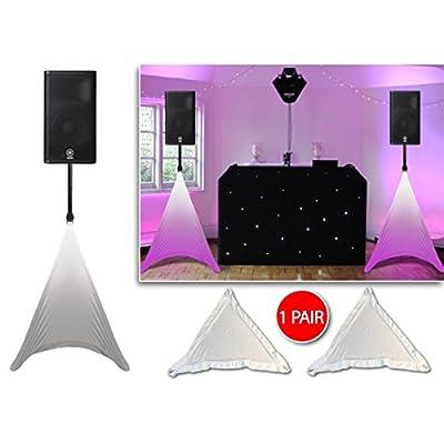 Gorilla White Tripod DJ PA Speaker Stand Cover Lighting Scrim Screens (PAIR)