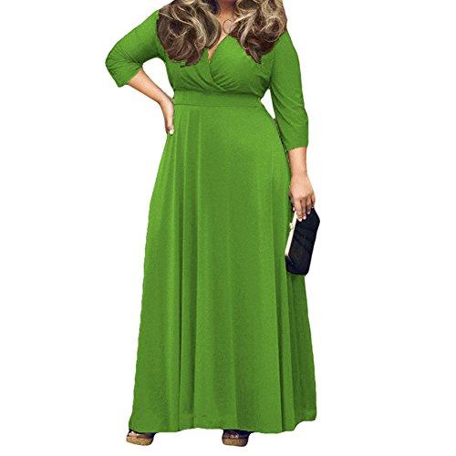 Hrph V Profond Femme Sexy Robe Nouveaux Solid Color Full - Longeait Party Dress Clubwear Vert