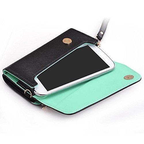Kroo d'embrayage portefeuille avec dragonne et sangle bandoulière pour Smartphone Nokia Lumia 520 Black and Violet Black and Green