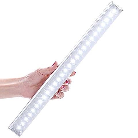 Lampe Placard PIR, LOFTER Lampe Armoire 27 LEDs, Battrie Rechangeable, 3 Modes d'Éclairage Automatique, Lampe Tiroir Garage Penderie Cabinet Cusine Salle de Bain Coin (Blanc Froid)