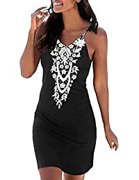 f8842add40c Womens Boho Beach Casual Dress Retro Sleeveless Halter Neck Mini Dresses  Ladies Summer Bohemian Printed Keyhole