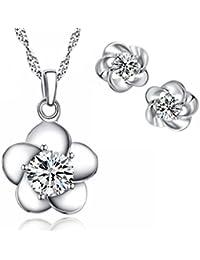 Plata de ley flor de Circonita Zirconia cúbico pendientes y colgante conjunto para Mujer