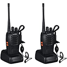 LESHP Walkie Talkie Juego de 2 (16 canales, UHF 400-470 MHz, 105 CDCSS, alcance de hasta 6 km, indicador de batería baja )
