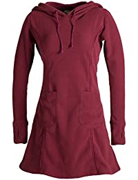 Vishes- Alternative Bekleidung - Langarm Winterkleid aus recyceltem Eco Fleece mit großer Zipfelkapuze