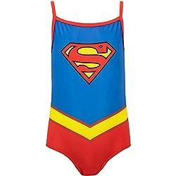 DC Comics Bañador para Niña Supergirl Azul 3-4 Años