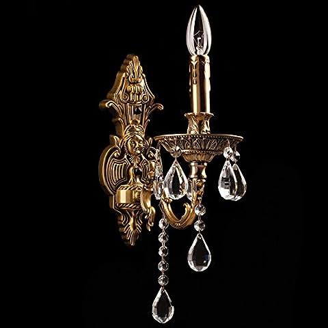 Wandleuchter Wandlampe Kristall antik Messing Farbe klassisch 1 - flammig exkl. E14 1x60W 230V