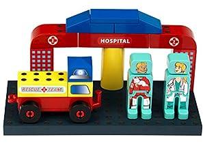 Theo Klein-14 Manetico Set Hospital, Bloques De Construcción Magnéticos, Edad 1+, Juguete, Multicolor (14)