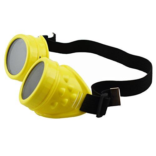 Unisex Retro Sonnenbrille Cyber Goggles Steampunk Brille Brille Schweißen Punk Gothic Brille Halloween Cosplay Vintage viktorianischen (gelb) (Halloween-brillen)