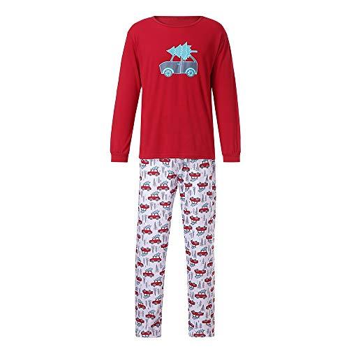 (Batnott Man Family PJS Passende Weihnachtsbaum Drucken Weihnachtspyjamas Set Bluse + Santa Pants Männer Herren Herbst Winter Weihnachten Jahr Eltern-Kind Sweatshirt Oben)