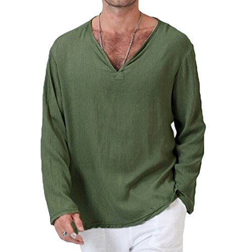 Herren T-Shirt Lässig Komfortable Atmungsaktiv Langärmeliges T-Shirt V-Ausschnitt Vintage Cotton Top, Asiatisch S-3XL (5 Farben: Violettblau, Schwarz, Grün, Weiß, Khaki) (Komfortable Grün)