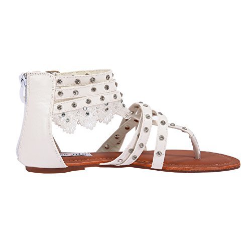 5c6991c09441c SheSole Ladies Flat White Sandals Wedding Shoes Gladiator Flip Flops For  Women Size 3