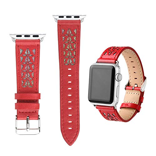 JINRU Iwatch Lederarmband Schnellverschluss, Durchbrochene Schnitzerei, 38Mm, 42Mm, Schwarz, Braun, Blau, Rotfür Die Apple Watch 1,2,3,4 (Sende Removal Tool),Red,40Mm