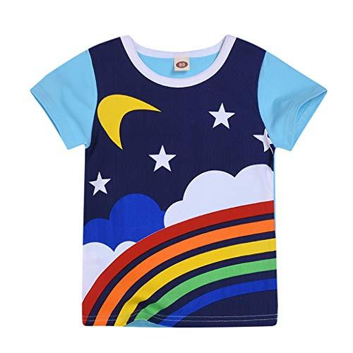 DIASTR Kleinkind Säuglings Baby Kleidung Stellte Mädchen Jungen Regenbogen Mond Sonne Bedrucktes T-Shirt Tops Kleidung Rainbow Short Sleeve T -Shirt für Kinder (6m -4y) -