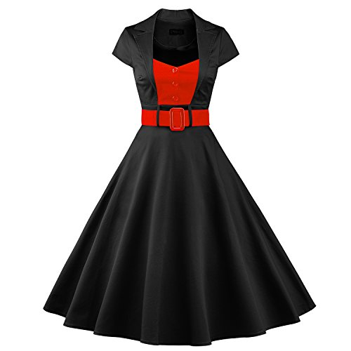 ILover 50s Retro vintage Rockabilly kleid Hepburn Stil shirt Partykleid (Girl Up Jahre Pin 50er)