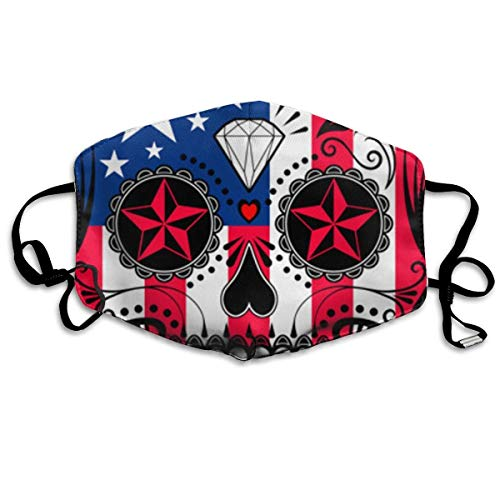 Women & Men Earloop Half Face Mouth Mask Mouth Masks Dustproof Mouth-Muffle - Premium Windproof Kaomoji Mouth Mask for Kids Youth Boys Girls (American Flag Patriot Skull) -
