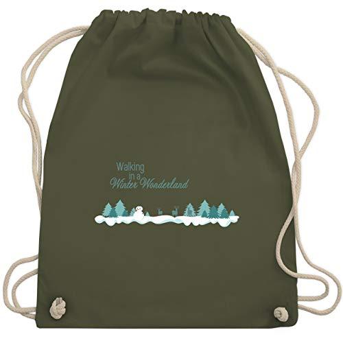 Weihnachten & Silvester - Walking in a Winter Wonderland Schnee - Unisize - Olivgrün - WM110 - Turnbeutel & Gym Bag