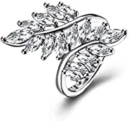 Jewels Galaxy Fascinating Crystal Leaf Design Silver Plated Adjustable Ring for Women/Girls