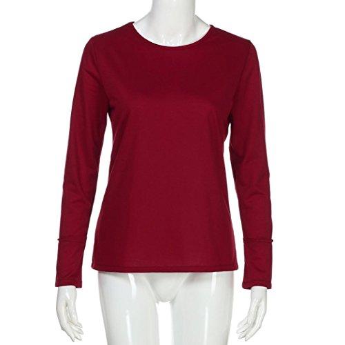 Sweat-shirt Décontracté O-Neck pour Femme, Familizo Hauts à Manches Longues en Patchwork Lâche Vin rouge
