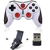 PC de Control, Gamepad, conexión Bluetooth, conexión inalámbrica de PC, para PC y Notebook y Smartphone (Blanco)