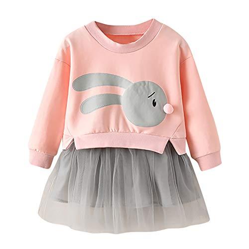 sunnymi 1-5 Jahre Baby Mädchen Sweatshirt Kleid Cartoon Bunny Prinzessin Patchwork Tüll Kleidung