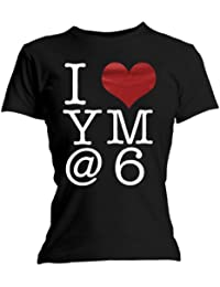 You Me At Six I Heart Official Womens T-Shirt (Black)