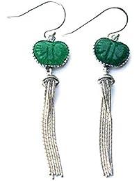 a8e57d758f5b Pendientes de plata de ley 925 con diseño de mariposa de Jade verde con  borla