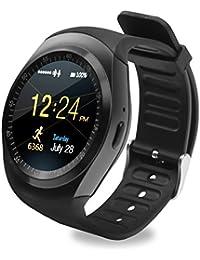 SoloKing T90 Relojes Inteligentes para Android 4.3 y iOS 7,Smartwatch Teléfono Reloj Deportivo con TF / tarjeta SIM Podómetro Monitor de Sueño SMS Whatsapp(negro)