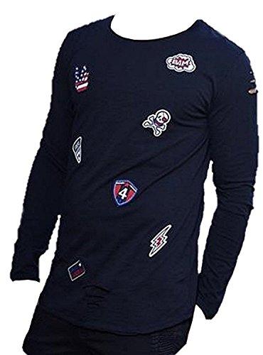 Brandneu !!! Designer Longsleeve T-Shirt von CARISMA im Vintagelook mit Beschädigungen und Patches in 3 Farben CRM3265 Schwarz