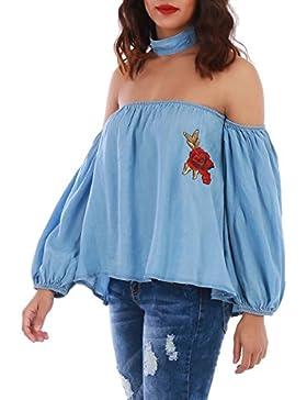 Zauberkirschen - Camisas - Túnica - Sin mangas - Transparente - para mujer Orange Apricot talla única
