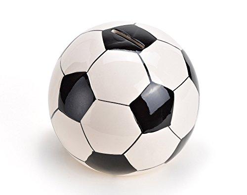 WoMa Fußball Spardose aus Keramik, Sparschwein mit Schloss und Schlüssel, 13cm x 13cm schwarz weiß