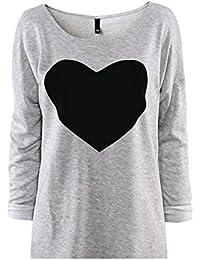 LHWY 1pc Moda Mujer Amor Corazón Impreso Cuello Redondo Camiseta Manga Larga ...
