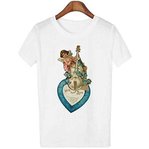 95fcf047b2 ZHOUBIANREN Camiseta T-Shirt Kawaii Estética Vintage T-Shirt Camiseta Angel  Angel Cute T-Shirt De Impresión Verano Hembra Hembra Casual T-Shirt,L