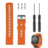 Rukoy Reemplazo de Banda para Garmin Forerunner 35, Reloj Correa de Repuesto de Silicona Suave para Garmin Forerunner 35 Reloj Inteligente, Ajuste 5.56'-7.96' (139mm-199mm) muñeca (Naranja)