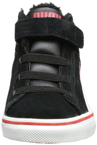 Puma - Puma Mid Vulc FUR V Kids, Sneakers per bambini Nero (Schwarz (black-white-high risk red 06))