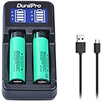 Durapro LCD Universal Intelligent USB Dual Battery Charger for Li-ion / Ni-MH/Ni-Cd 18650 18490 18350 17670 17500 16340(RCR123) 14500 A AA AAA AAAA Rechargeable Batteries