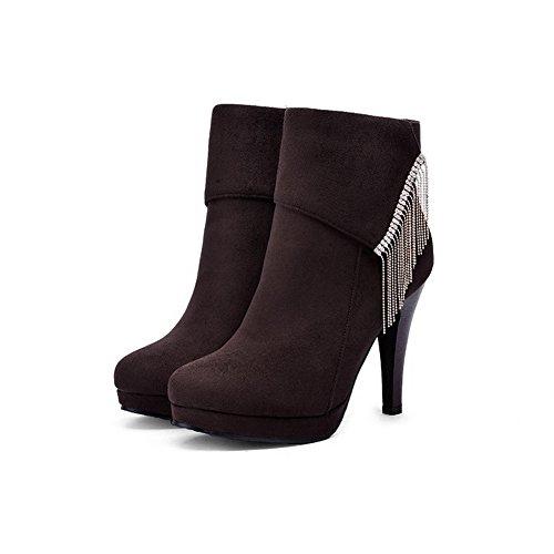 VogueZone009 Damen Rein Mattglasbirne Reißverschluss Stiefel mit Beschlagene Strass Braun