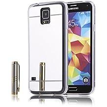 Funda Espejo Samsung Galaxy S5, 2ndSpring Samsung Galaxy S5 Bumper Shock y Anti-Arañazos Gel Silicona TPU Carcasa Mirror Case Cover para Samsung Galaxy S5,Plata