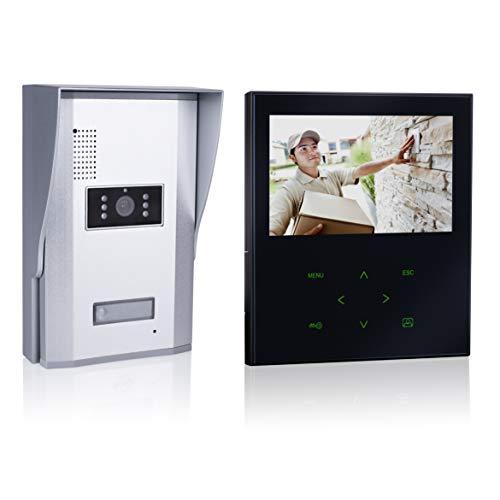 Smartwares VD71Z SW Video-Türgegensprechanlage mit flachem Touchscreen-Panel, Farbbildmonitor schwarz