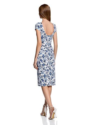 oodji Collection Damen Midi-Kleid mit Rückenausschnitt Weiß (1275F)
