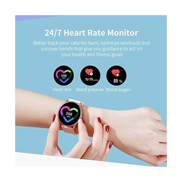 Minoni Smartwatch, Fitness Pulsera Reloj Completo Touch Screen Fitness Reloj IP68 estanco Fitness Tracker Sportuhr con podómetro Pulsuhren cronómetro para señoras señores Smart Watch (Rojo) 5