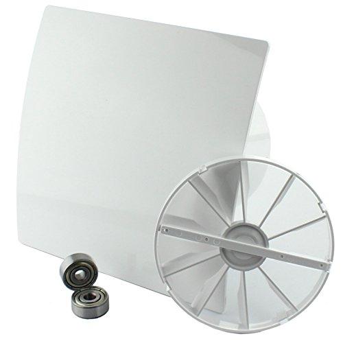 MKK - 18151-001 - DUO Design Badlüfter Wandlüfter Leise Rückstauklappe Kugellager Feuchtesensor Ø 100 mm Hochglanz weiß