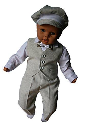 Taufanzug, Festanzug, Jungenanzug, 5tlg,Beige-Weiß,Baby Junge Kinder Taufe Hochzeit Anzüge K10B Größe 68 - 3