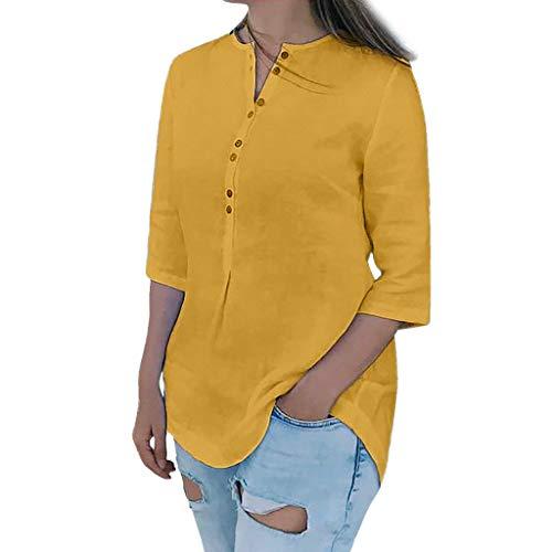 Floweworld Damen Leinen Shirts Casual Sommer Mode V-Ausschnitt Lose Blusen Frauen Einfache Wilde Einfarbig Kurzen Ärmeln Taste Tops