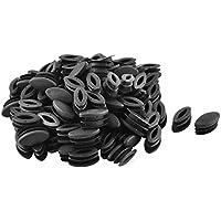 sourcing map Escuela De Plástico De Plástico Ovalada Silla De Mesa Patas Pies Inserción Tubo Negro 100 Piezas