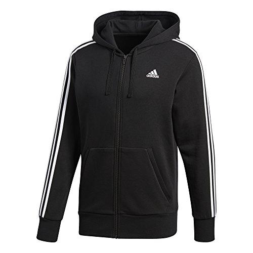 Adidas Ess 3S Fz Ft, Felpa Sportiva con Cappuccio Uomo, Nero (Black/White), Medium
