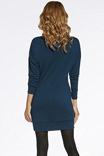 Ennywear 220026 Kleid Damen Mini Langarm Rundhals Reißverschluss Oversize  EU Dunkelgrün